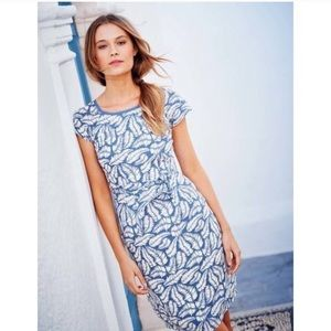 Boden Easy Day Palm Tropical Leaf Cap Sleeve Dress